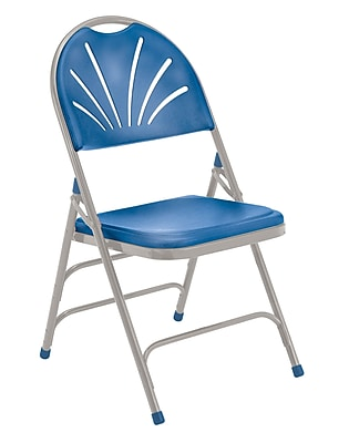 National Public Seating 1100 Series Steel Frame Fanback Folding Chair, Blue 52/Pack (1105/52)