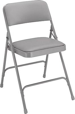 NPS #1202 Vinyl Padded Premium Folding Chairs, Warm Grey/Grey - 4 Pack