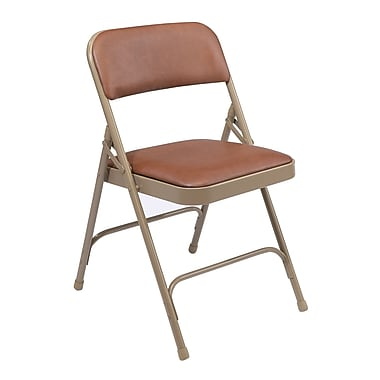 NPS® 1200 Series Vinyl Armless Premium Folding Chair, Honey Brown/Beige