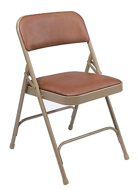 National Public Seating 1200 Series Steel Frame Vinyl Padded Premium Folding Chair, Brown 52/Pack (1203/52)