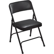 NPS® 1200 Series Vinyl Armless Premium Folding Chair, Caviar Black/Black