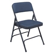 NPS® 1300 Series Vinyl Armless Premium Folding Chair, Dark Midnight Blue/Char-Blue