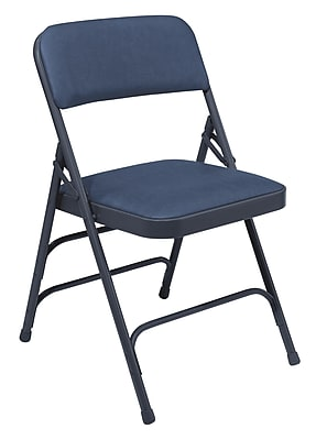National Public Seating 1300 Series Steel Frame Vinyl Padded Triple Brace Folding Chair, Blue 100/Pack (1304/100)