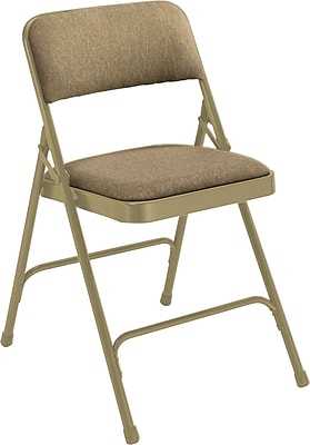 National Public Seating 2200 Series Steel Frame Fabric Padded Premium Folding Chair, Beige 100/Pack (2201/100)