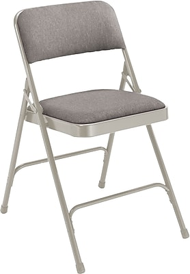 National Public Seating 2200 Series Steel Frame Fabric Padded Premium Folding Chair, Grey 100/Pack (2202/100)
