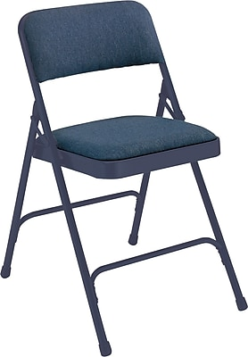 National Public Seating 2200 Series Steel Frame Fabric Padded Premium Folding Chair, Blue 100/Pack (2204/100)