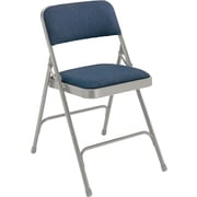 National Public Seating 2200 Series Steel Frame Fabric Padded Premium Folding Chair, Blue/Grey 100/Pack (2205/100)