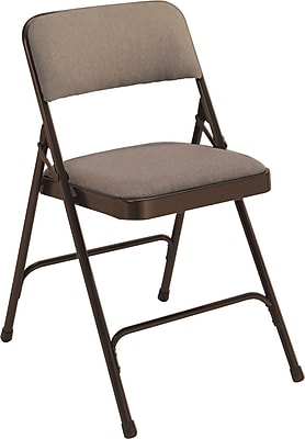 National Public Seating 2200 Series Steel Frame Fabric Padded Premium Folding Chair, Brown 100/Pack (2207/100)