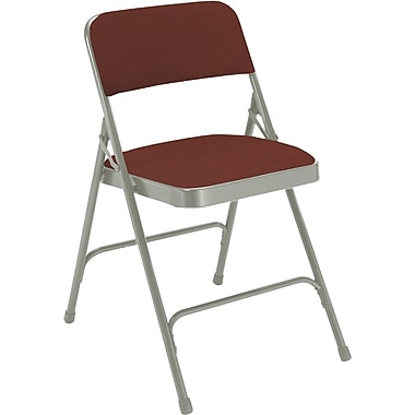 National Public Seating 2200 Series Steel Frame Fabric Padded Premium Folding Chair, Burgundy 100/Pack (2208/100)