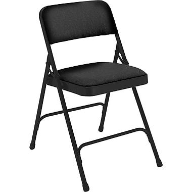 NPS® 2200 Series Fabric Armless Premium Folding Chair, Midnight Black/Black