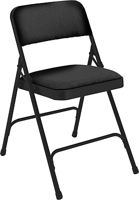 National Public Seating 2200 Series Steel Frame Fabric Padded Premium Folding Chair, Black 52/Pack (2210/52)