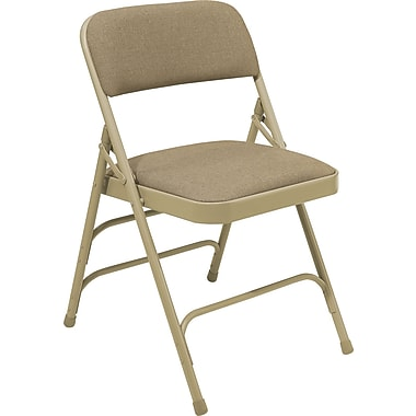 NPS® 2300 Series Fabric Armless Premium Folding Chair, Cafe Beige/Beige