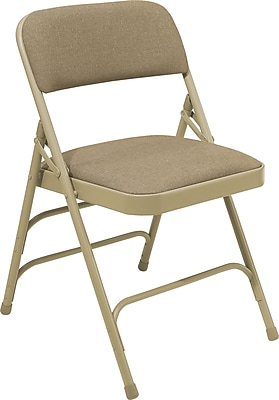 NPS #2301 Fabric Padded Triple Brace Double Hinge Premium Folding Chairs, Cafe Beige/Beige - 4 Pack