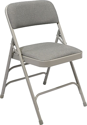 NPS #2302 Fabric Padded Triple Brace Double Hinge Premium Folding Chairs, Greystone/Grey - 100 Pack