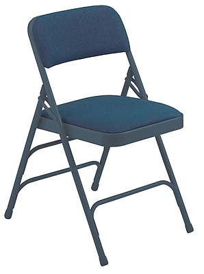 National Public Seating 2300 Series Steel Frame Fabric Padded Triple Brace Folding Chair, Blue 100/Pack (2304/100)