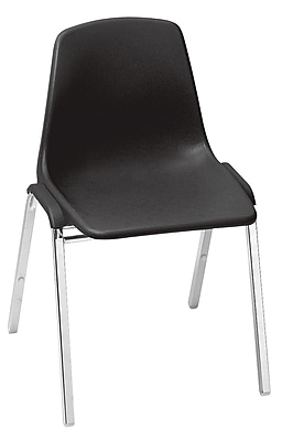 National Public Seating 8100 Series Steel Frame Poly Shell Stack Chair, Black 40/Pack (8110/40)