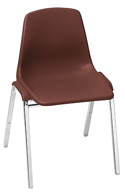 NPS® 8100 Series Poly Shell Stack Chair, Burgundy/Chrome, 4/Pack