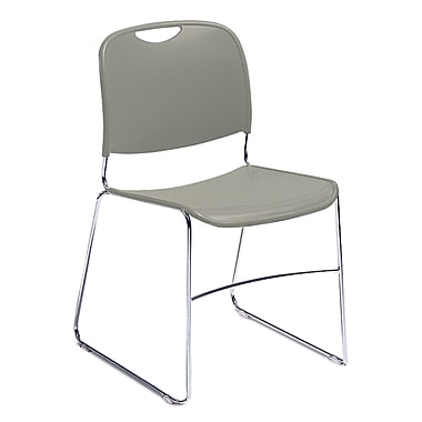 NPS® Plastic Hi-Tech Ultra-Compact Stack Chair, Gunmetal Gray/Chrome, 4/Pack