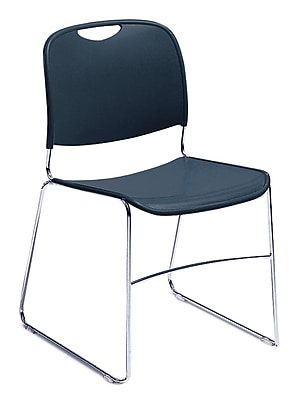 NPS® Plastic Hi-Tech Ultra-Compact Stack Chair, Navy Blue/Chrome, 4/Pack