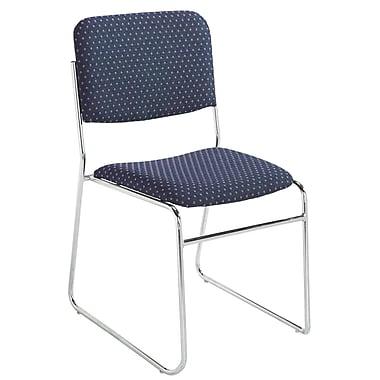 NPS® Pattern Fabric Signature Stack Chair, Diamond Navy/Chrome