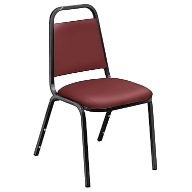 NPS® 9100 Series Vinyl Padded Banquet Stack Chair, Pleasant Burgundy/Black, 4/Pack