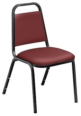 National Public Seating 9100 Series Steel Frame Vinyl Padded Stack Chair, Burgundy 40/Pack (9108-B-NB/40)