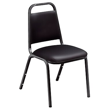 NPS® Banquet Vinyl Padded Stack Chair, Panther Black/Black, 4/Pack
