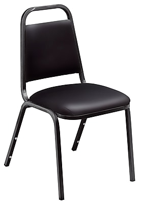 National Public Seating 9100 Series Steel Frame Vinyl Padded Stack Chair, Black 80/Pack (9110-B-NB/80)