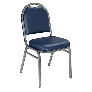NPS® Vinyl Padded Dome Stack Chair, Midnight Blue/Silvervein, 4/Pack