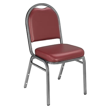 NPS® Vinyl Padded Dome Stack Chair, Pleasant Burgundy/Silvervein, 4/Pack