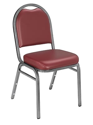 National Public Seating 9200 Series Steel Frame Vinyl Padded Dome Stack Chair, Burgundy 20/Pack (9208-SV-NB/20)