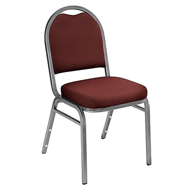 NPS® Solid Fabric Padded Dome Stack Chair, Rich Maroon/Silvervein, 4/Pack
