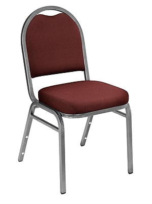 National Public Seating 9200 Series Steel Frame Fabric Padded Dome Stack Chair, Rich Maroon 80/Pack (9258-SV-NB/80)