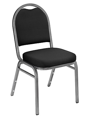 National Public Seating 9200 Series Steel Frame Fabric Padded Dome Stack Chair, Black 20/Pack (9260-SV-NB/20)