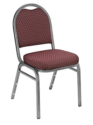 National Public Seating 9200 Series Steel Frame Fabric Padded Dome Stack Chair, Diamond Burgundy 20/Pack (9268-SV-NB/20)