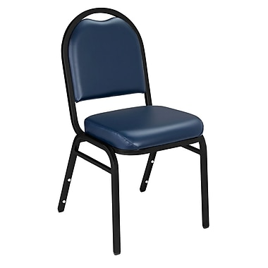 NPS® Vinyl Padded Dome Stack Chair, Midnight Blue/Black Sandtex, 4/Pack