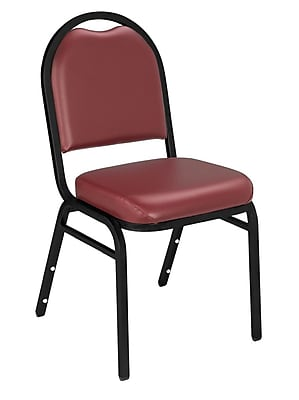 National Public Seating 9200 Series Steel Frame Vinyl Padded Dome Stack Chair, Burgundy 80/Pack (9208-BT-NB/80)
