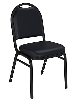 National Public Seating 9200 Series Steel Frame Vinyl Padded Dome Stack Chair, Black 80/Pack (9210-BT-NB/80)