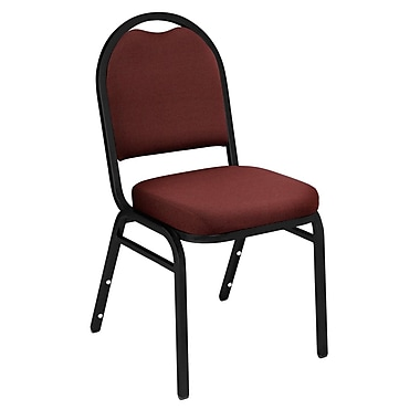 NPS® Solid Fabric Padded Dome Stack Chair, Rich Maroon/Black Santex, 4/Pack