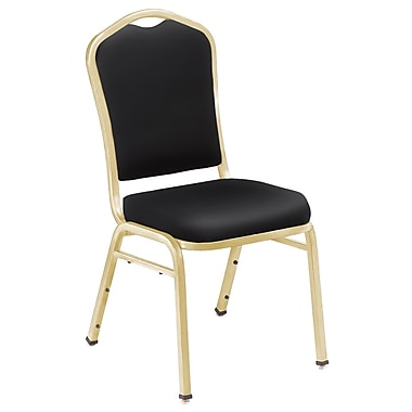 NPS® Silhouette Vinyl Padded Stack Chair, Panther Black/Gold, 4/Pack