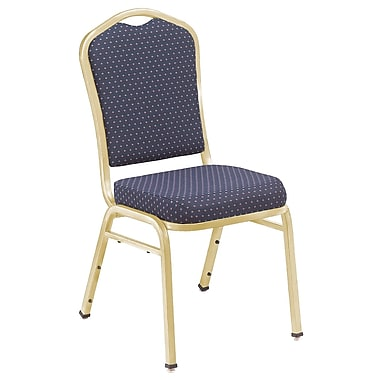 NPS® Silhouette Pattern Fabric Stack Chair, Diamond Navy/Gold, 4/Pack