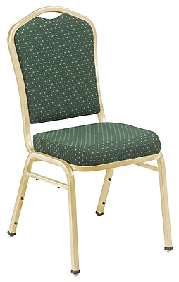 NPS® Silhouette Pattern Fabric Stack Chair, Diamond Green/Gold, 4/Pack