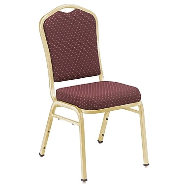 NPS® Silhouette Pattern Fabric Stack Chair, Diamond Burgundy/Gold, 4/Pack