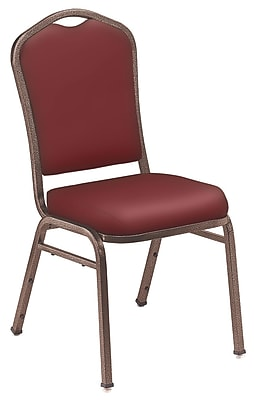 NPS® Silhouette Vinyl Padded Stack Chair, Pleasant Burgundy/Coppervein, 4/Pack
