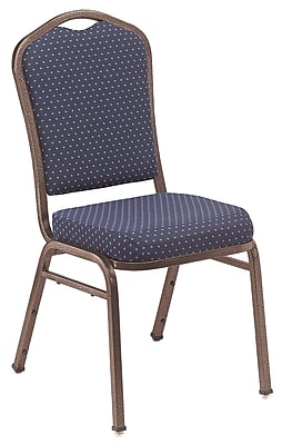 NPS® Silhouette Pattern Fabric Stack Chair, Diamond Navy/Coppervein, 4/Pack