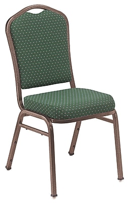 NPS® Silhouette Pattern Fabric Stack Chair, Diamond Green/Coppervein, 4/Pack