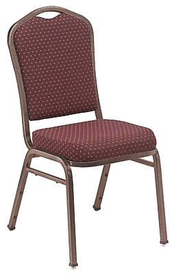 NPS® Silhouette Pattern Fabric Stack Chair, Diamond Burgundy/Coppervein, 4/Pack