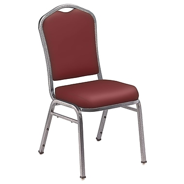 NPS® Silhouette Vinyl Padded Stack Chair, Pleasant Burgundy/Silvervein