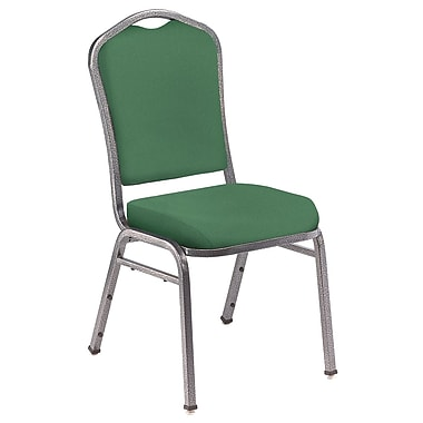 NPS® Silhouette Solid Fabric Stack Chair, Hunter Green/Silvervein, 4/Pack