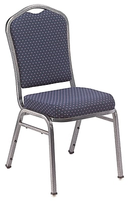 NPS® Silhouette Pattern Fabric Stack Chair, Diamond Navy/Silvervein, 4/Pack